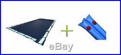 16x32 Dark Blue Winter Rectangular Inground Swimming Pool Cover withWater Tubes