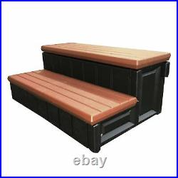 Confer 36 Inch Resin Spa and Hot Tub Steps with Storage Compartments, Redwood