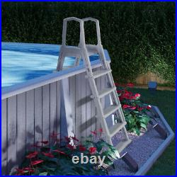 Deluxe Above Ground Swimming Pool Ladder Non-Slip Large Adjustable Height White