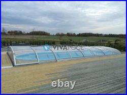 Gfk Schwimmbecken 9,40x3,30m Pool mit Clear Überdachung + Led + Waermepumpe
