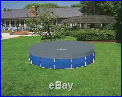 Intex 15 x 4 Foot Metal Frame Above Ground Pool Set with Pump, Cover, & Ladder